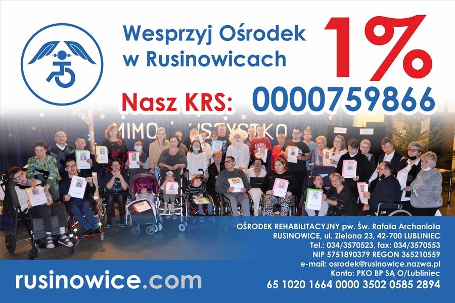 Wesprzyj Ośrodek w Rusinowicach. Przekaż swój 1% na rzecz Ośrodka w Rusinowicach