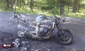 Płonący motocykl! Są utrudnienia z przejazdem.